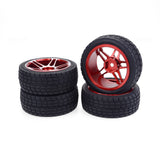 JMT 4PCS 1/10 RC Car Rubber Tyres Plastic Wheels for Redcat HSP HPI Hobbyking Traxxas Losi VRX LRP ZD Racing 1/10 On-road Car