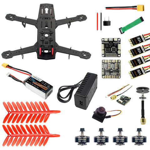 QWinOut Q250 Full Set DIY FPV Drone Camera Quadcopter 250MM Carbon Fiber Frame F3 FC Flycolor Raptor BLS Pro-30A ESC 700TVL Camera FS I6