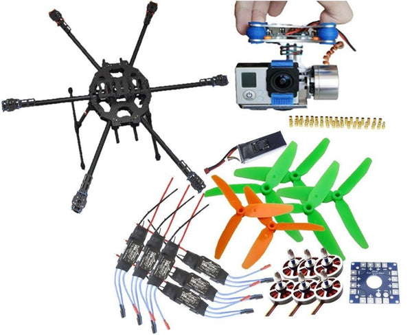 QWinOut FY680 Folding Aircraft RTF Kit: Tarot 3k Frame + Gimbal + 750kv Motor + KK Connection Board + ESC
