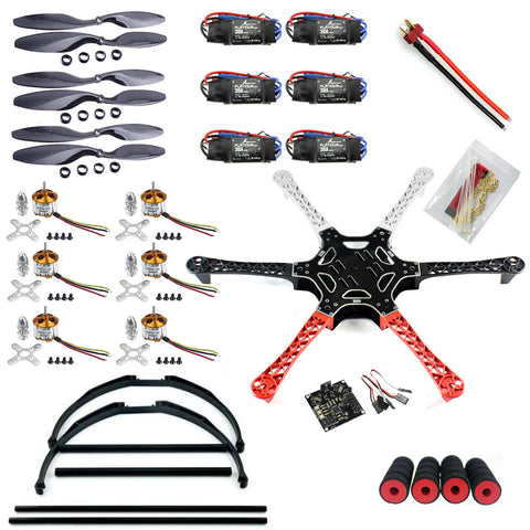 QWinOut F550 Drone FlameWheel Kit With KK 2.3 HY ESC Motor Carbon Fiber Propellers +Tall Landing Skid PTZ DIY RC Drone Kit
