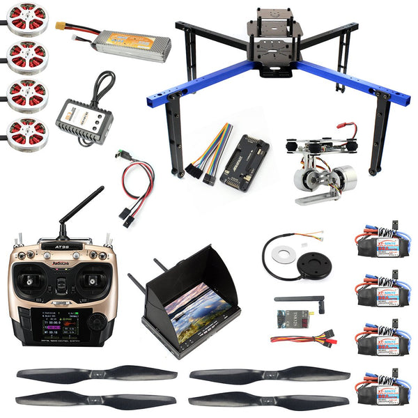 JMT FPV Version X550 550MM Wheelbase Aluminum Tube Rack Frame Kit APM 2.8 MINIPIX FlIght Control Gimbal FPV Monitor DIY GPS Drone RC Hobby Models