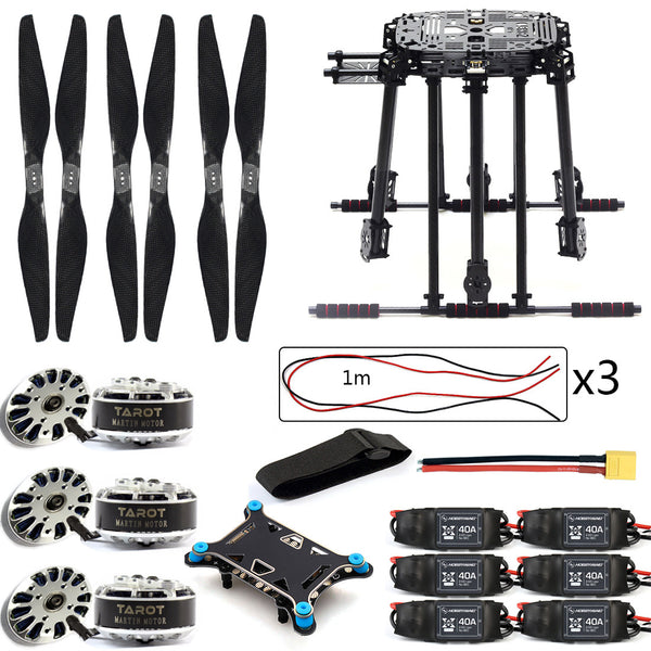 QWinOut DIY ZD850 Frame Kit with Landing Gear 620KV Brushless Motor 40A ESC 1555 Props Shock Absorber for FPV 6 Axle Drone