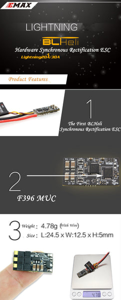 EMAX Lightning 30A ESC Mini No BEC  BLHeli V14.2 Speed Controller for RC Racer Drone Multi-Rotor