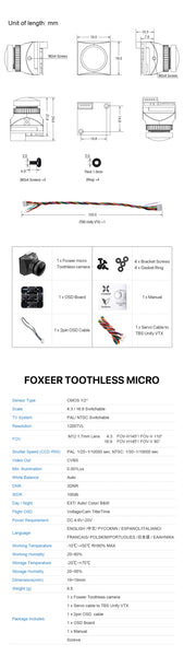 Foxeer Toothless Micro CMOS 1/2 1.7mm 1200TVL PAL NTSC 4:3 16:9 FPV Camera with OSD 4.6-20V Natural Image For RC FPV Drone