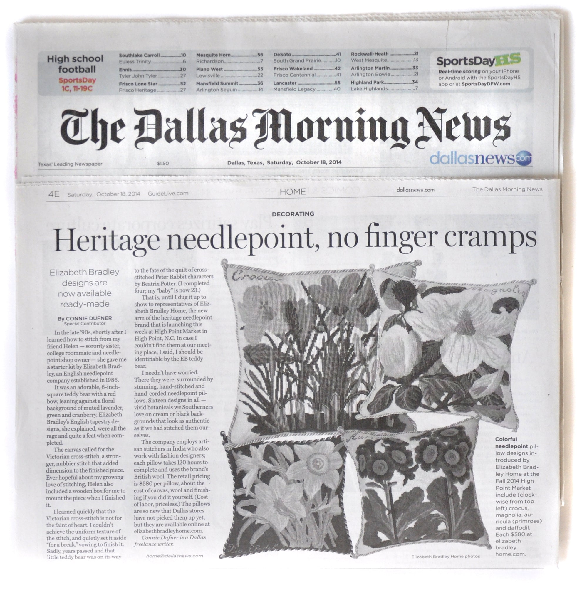 Elizabeth Bradley Design As Seen in The Dallas Morning News Newspaper