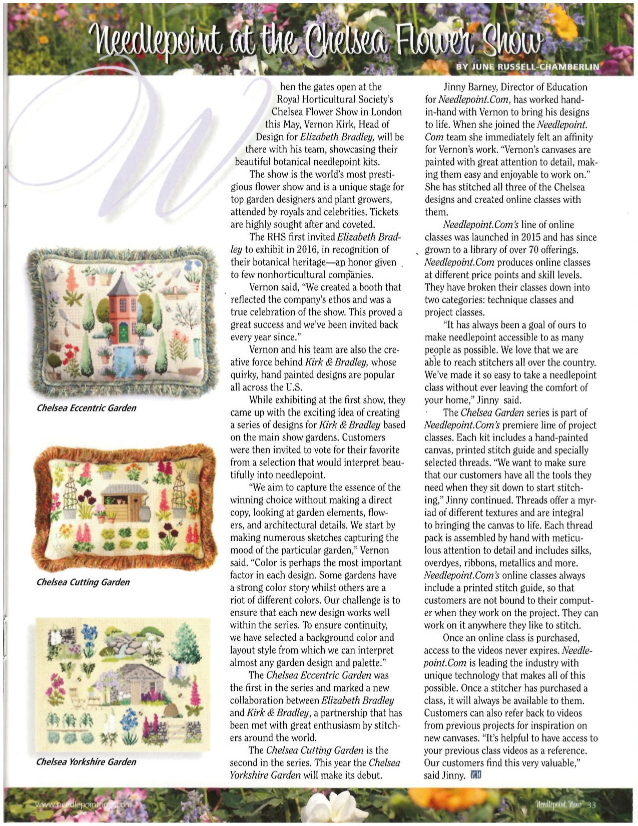 Elizabeth Bradley Design article feature in Needlepoint Now Magazine