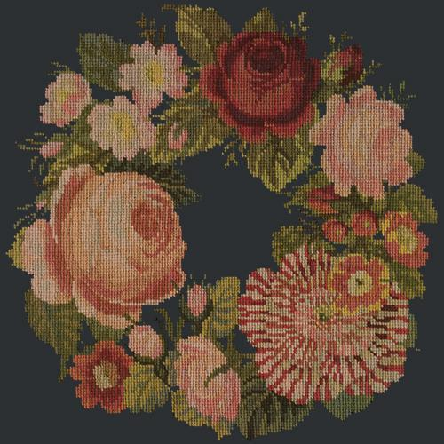 A Wreath of Roses Needlepoint Kit Elizabeth Bradley Design Black