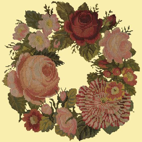 A Wreath of Roses Needlepoint Kit Elizabeth Bradley Design Butter Yellow