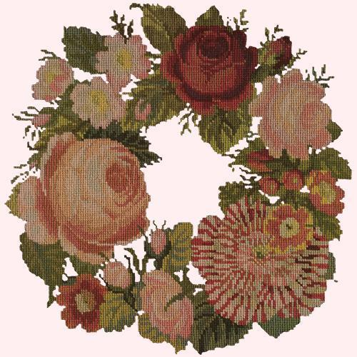 A Wreath of Roses Needlepoint Kit Elizabeth Bradley Design Cream