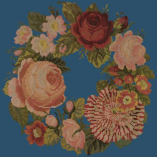 A Wreath of Roses Needlepoint Kit Elizabeth Bradley Design Dark Blue