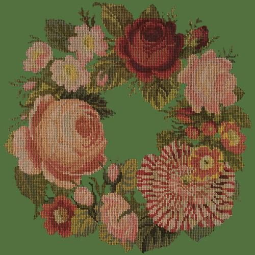 A Wreath of Roses Needlepoint Kit Elizabeth Bradley Design Dark Green