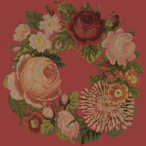 A Wreath of Roses Needlepoint Kit Elizabeth Bradley Design Dark Red