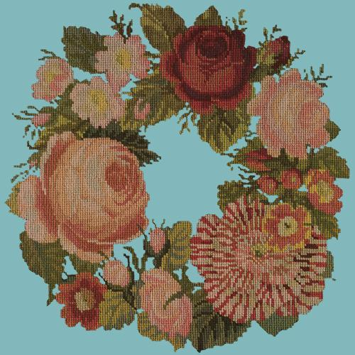 A Wreath of Roses Needlepoint Kit Elizabeth Bradley Design Duck Egg Blue