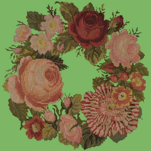 A Wreath of Roses Needlepoint Kit Elizabeth Bradley Design Grass Green