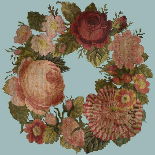 A Wreath of Roses Needlepoint Kit Elizabeth Bradley Design Pale Blue