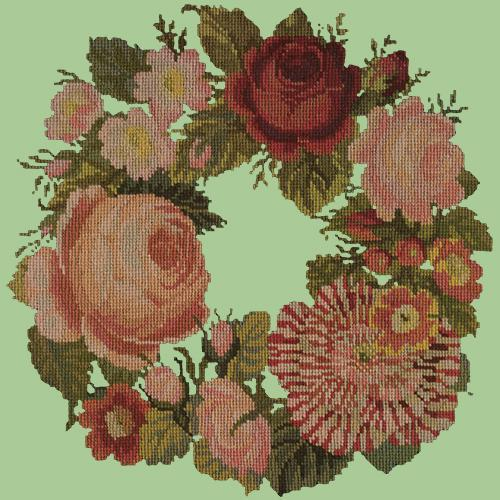 A Wreath of Roses Needlepoint Kit Elizabeth Bradley Design Pale Green