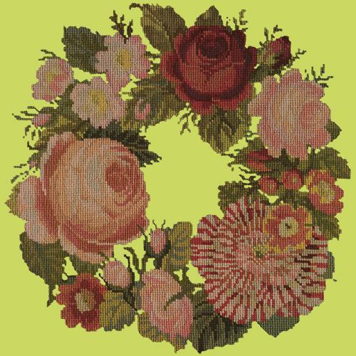 A Wreath of Roses Needlepoint Kit Elizabeth Bradley Design Pale Lime