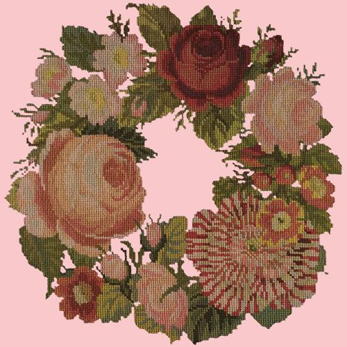 A Wreath of Roses Needlepoint Kit Elizabeth Bradley Design Pale Rose