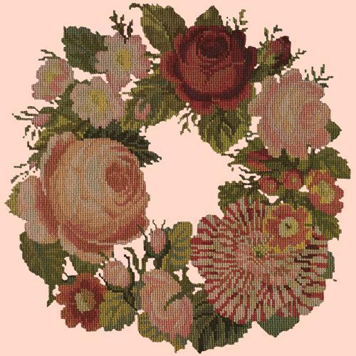 A Wreath of Roses Needlepoint Kit Elizabeth Bradley Design Salmon Pink