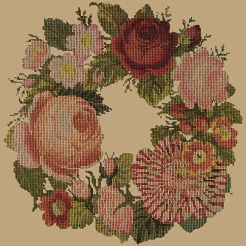 A Wreath of Roses Needlepoint Kit Elizabeth Bradley Design Sand
