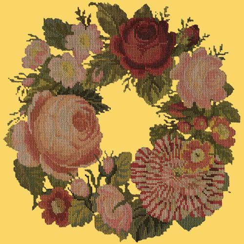 A Wreath of Roses Needlepoint Kit Elizabeth Bradley Design Sunflower Yellow