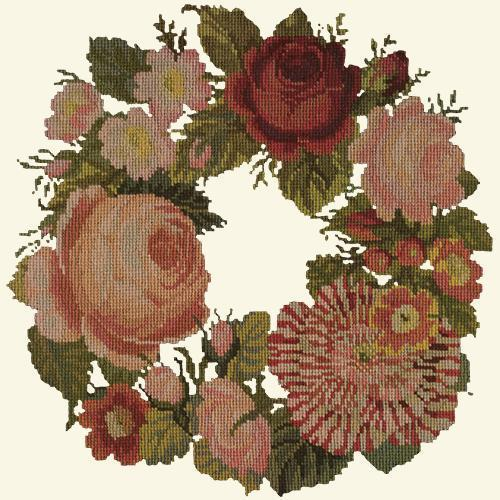 A Wreath of Roses Needlepoint Kit Elizabeth Bradley Design Winter White