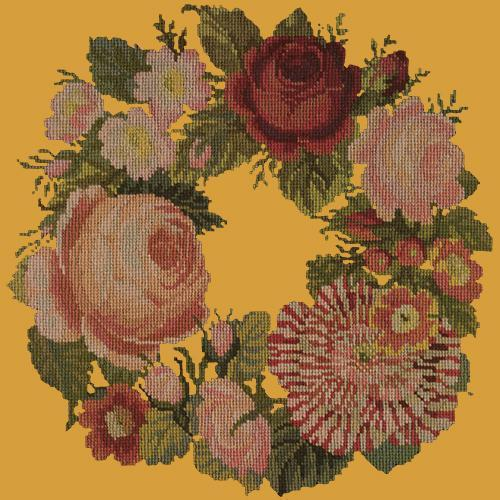 A Wreath of Roses Needlepoint Kit Elizabeth Bradley Design Yellow