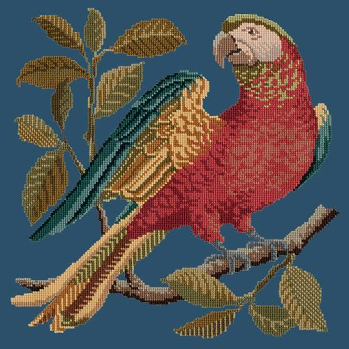 Alister the Parrot Needlepoint Kit Elizabeth Bradley Design Dark Blue