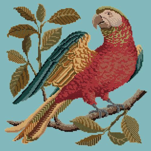 Alister the Parrot Needlepoint Kit Elizabeth Bradley Design Duck Egg Blue