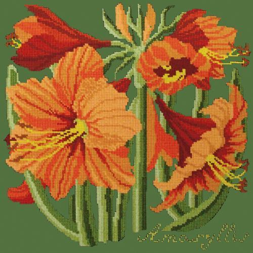 Amaryllis Needlepoint Kit Elizabeth Bradley Design Dark Green