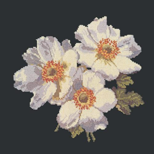Anemones Needlepoint Kit Elizabeth Bradley Design Black