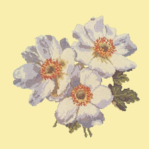 Anemones Needlepoint Kit Elizabeth Bradley Design Butter Yellow