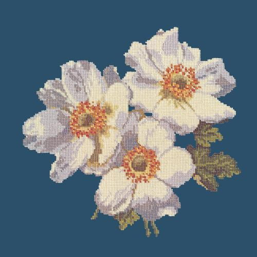 Anemones Needlepoint Kit Elizabeth Bradley Design Dark Blue