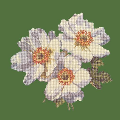 Anemones Needlepoint Kit Elizabeth Bradley Design Dark Green