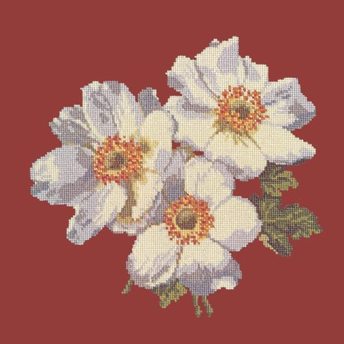 Anemones Needlepoint Kit Elizabeth Bradley Design Dark Red