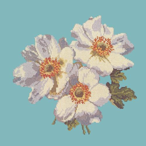 Anemones Needlepoint Kit Elizabeth Bradley Design Duck Egg Blue
