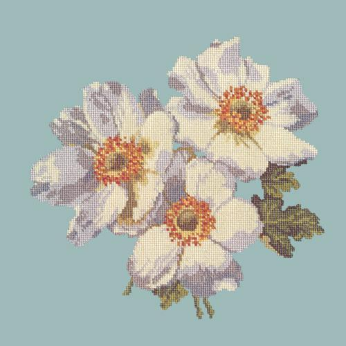Anemones Needlepoint Kit Elizabeth Bradley Design Pale Blue