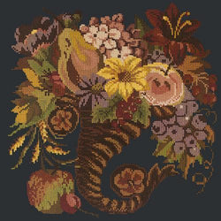 Autumn Cornucopia Needlepoint Kit Elizabeth Bradley Design Black