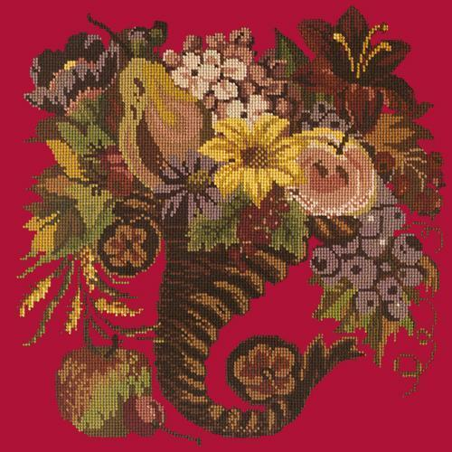 Autumn Cornucopia Needlepoint Kit Elizabeth Bradley Design Bright Red
