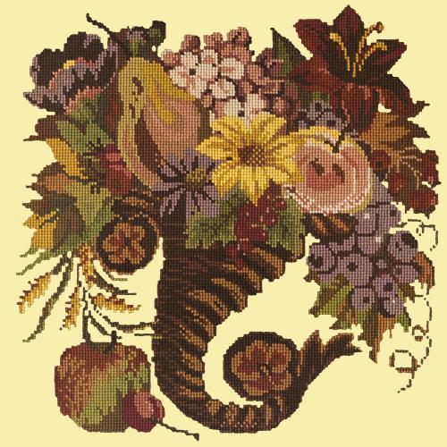 Autumn Cornucopia Needlepoint Kit Elizabeth Bradley Design Butter Yellow