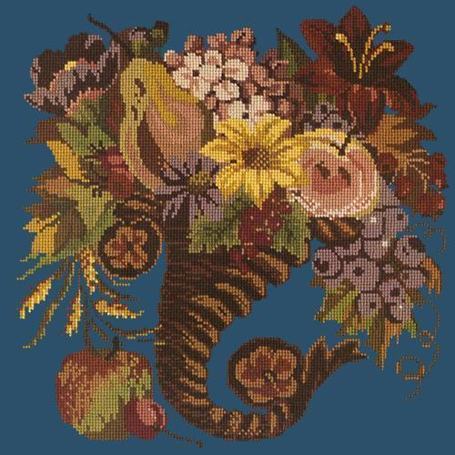 Autumn Cornucopia Needlepoint Kit Elizabeth Bradley Design Dark Blue