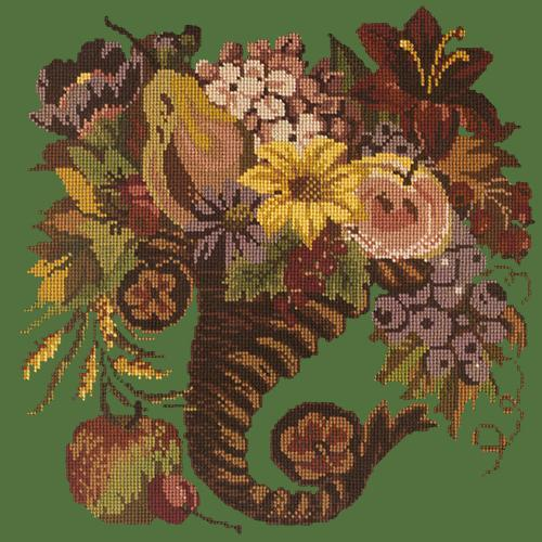 Autumn Cornucopia Needlepoint Kit Elizabeth Bradley Design Dark Green