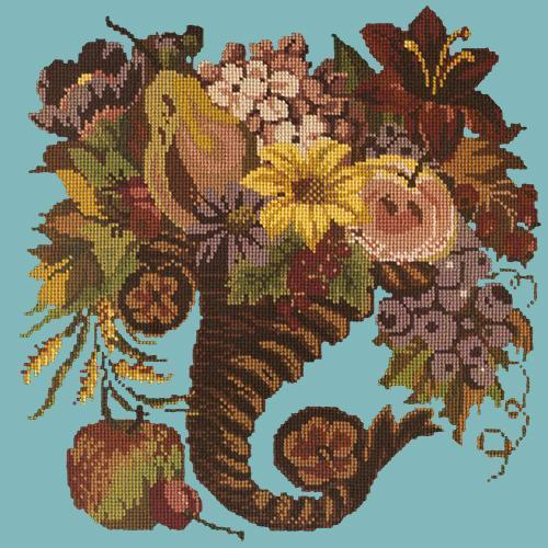 Autumn Cornucopia Needlepoint Kit Elizabeth Bradley Design Duck Egg Blue