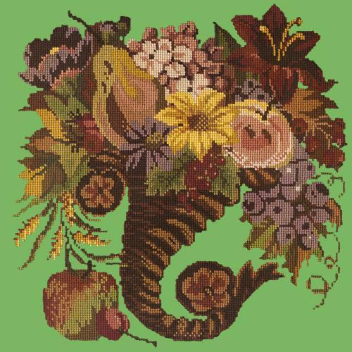 Autumn Cornucopia Needlepoint Kit Elizabeth Bradley Design Grass Green