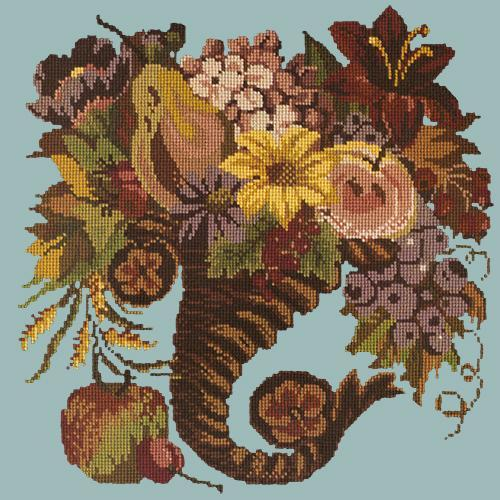 Autumn Cornucopia Needlepoint Kit Elizabeth Bradley Design Pale Blue