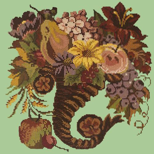 Autumn Cornucopia Needlepoint Kit Elizabeth Bradley Design Pale Green