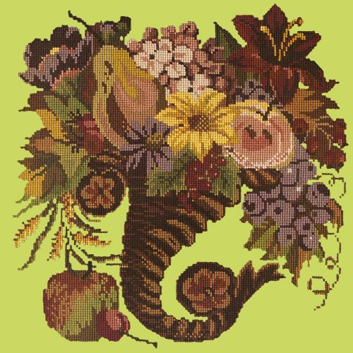 Autumn Cornucopia Needlepoint Kit Elizabeth Bradley Design Pale Lime