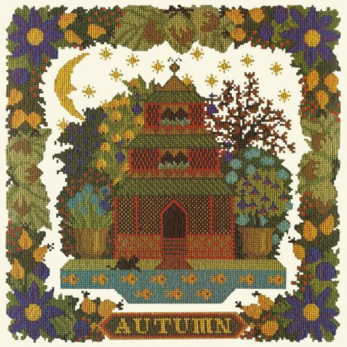 Autumn Sampler Needlepoint Kit Elizabeth Bradley Design Winter White