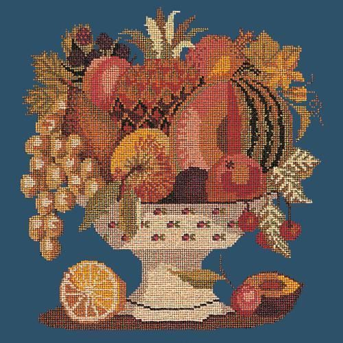 Bowl of Fruit Needlepoint Kit Elizabeth Bradley Design Dark Blue