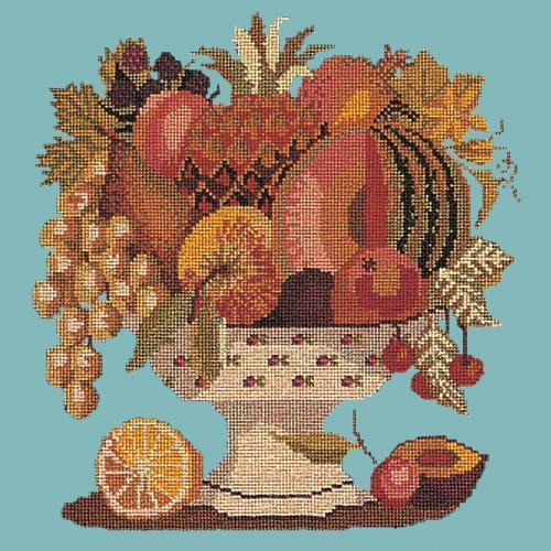Bowl of Fruit Needlepoint Kit Elizabeth Bradley Design Duck Egg Blue